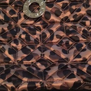 Nine West Quilted Leopard Tote EUC key fob snaps